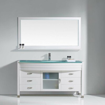 Frausto 61 Single Bathroom Vanity Set with Clear Top and Mirror Base Finish: White, Faucet Finish: Polished Chrome