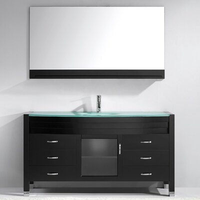 Carstarphen 61 Single Bathroom Vanity Set with Clear Top and Mirror Base Finish: Gray, Faucet Finish: Brushed Nickel
