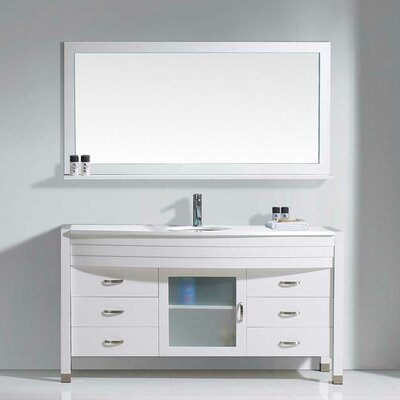 Frausto 61 Single Bathroom Vanity Set with White Top and Mirror Base Finish: White, Faucet Finish: Polished Chrome