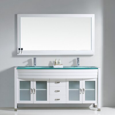 Frausto 63 Double Bathroom Vanity Set with Clear Top and Mirror Base Finish: White, Faucet Finish: Brushed Nickel