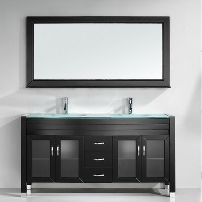 Frausto 63 Double Bathroom Vanity Set with Clear Top and Mirror Base Finish: Espresso, Faucet Finish: Brushed Nickel