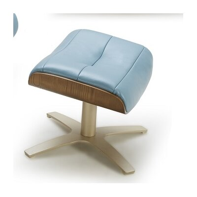 Dakota Leather Ottoman Upholstery: Blue