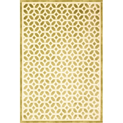 Becker Apple Green/Ivory Area Rug Rug Size: 5'3