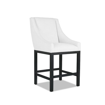 Moss 26 inch Bar Stool Finish: Dry Gray, Upholstery: White