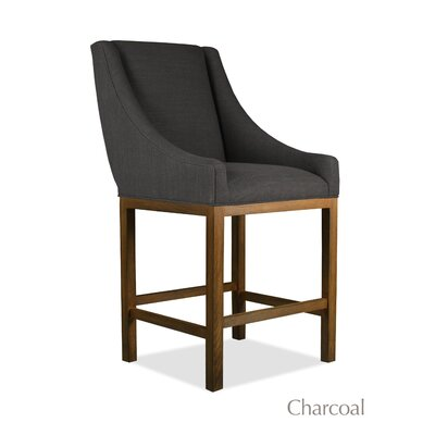 Moss 26 inch Bar Stool Finish: Cognac, Upholstery: Charcoal