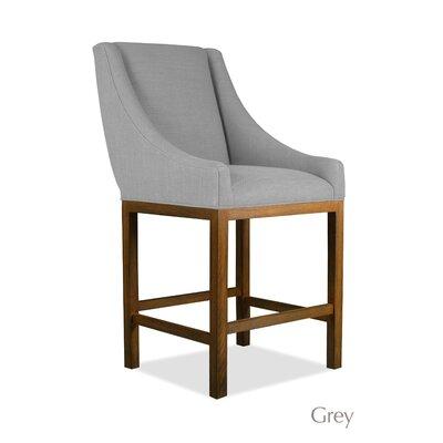 Moss 26 inch Bar Stool Finish: Cognac, Upholstery: Gray