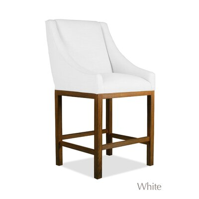 Moss 26 Bar Stool Finish: Cognac, Upholstery: White