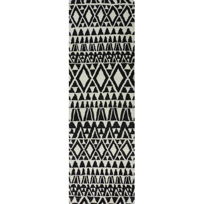 Coldagh Wool Ivory/Black Area Rug Rug Size: Runner 26 x 8