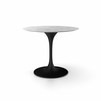 Angelica Marble Dining Table Size: 28.25 H x 36 W x 36 D, Base Finish: Black Matte