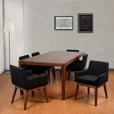 Perla 7 Piece Dining Set Finish: Cocoa, Upholstery Color: Liquorice