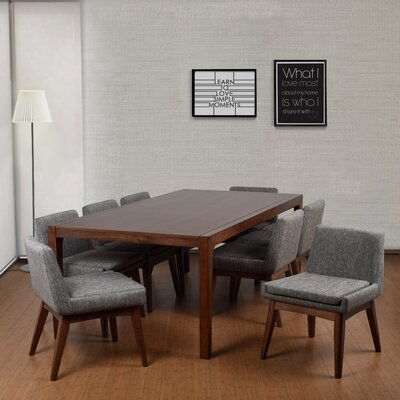 Perla 9 Piece Dining Set Finish: Cocoa, Upholstery Color: Gray