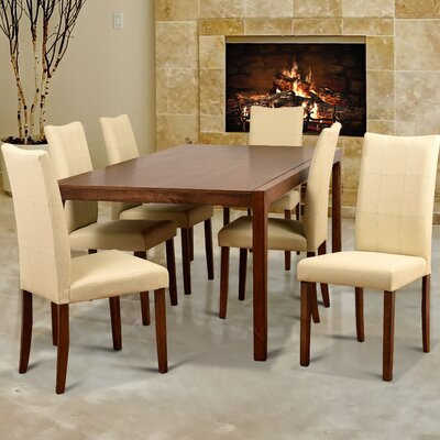 Perla 7 Piece Dining Set Upholstery Color: Cream