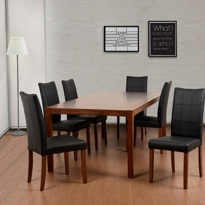 Perla 7 Piece Dining Set Upholstery Color: Espresso