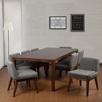 Perla 9 Piece Dining Set Upholstery Color: Gray, Finish: Natural