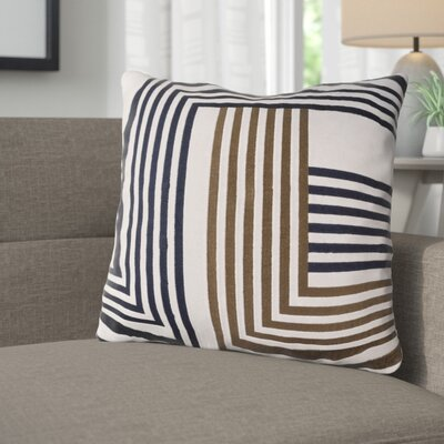 Sandrine Cotton Throw Pillow Size: 20 H x 20 W x 4 D, Color: Light Gray / Dark Brown / Navy