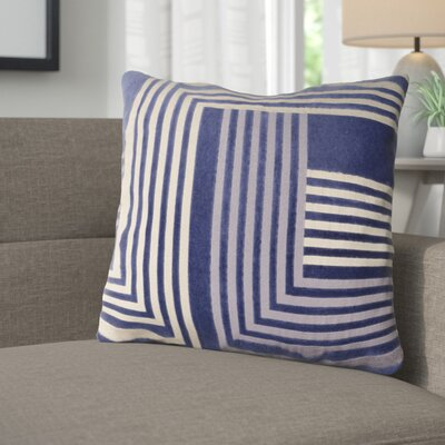 Sandrine Cotton Throw Pillow Size: 18 H x 18 W x 4 D, Color: Navy / Beige / Gray
