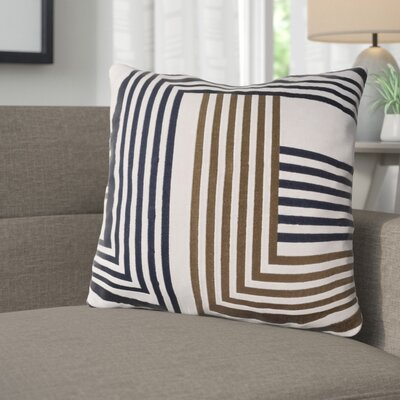 Sandrine Cotton Throw Pillow Size: 18 H x 18 W x 4 D, Color: Light Gray / Dark Brown / Navy