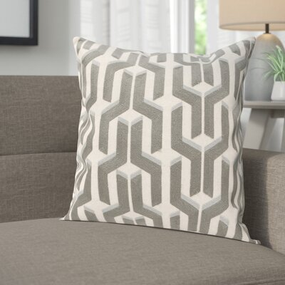 Chalfont Cotton Throw Pillow Color: Silver / Blue