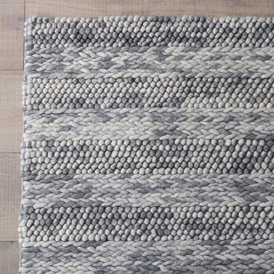 Ambridge Hand-Woven Wool Grey Area Rug Rug Size: 5 x 7