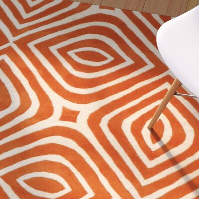 Corrigan Hand-Tufted Orange Area Rug Rug Size: Rectangle 89 x 119