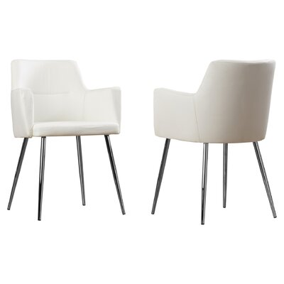 Alfie Upholstered Dining Chair Color: White