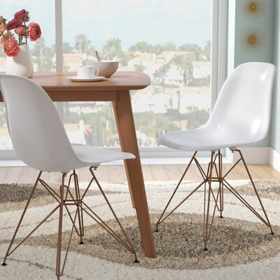 Mohnton Solid Back Side Chair (Set of 2) Finish: White/Gold