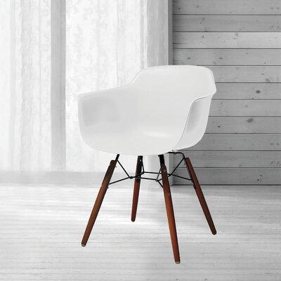 Lorenzo Mid Century Dining Chair Color: White
