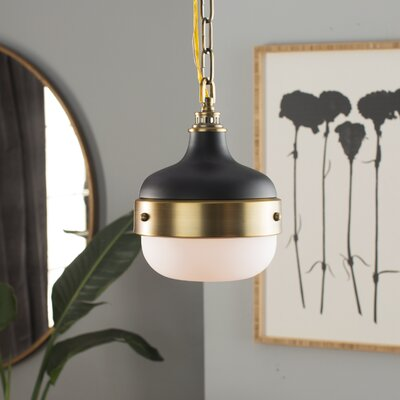 Archbald 1-Light Pendant Finish: Dark Antique Brass / Matte Black