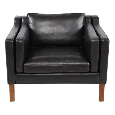 Rolando Top Grain Leather Club Chair Upholstery: Black, Finish: Walnut