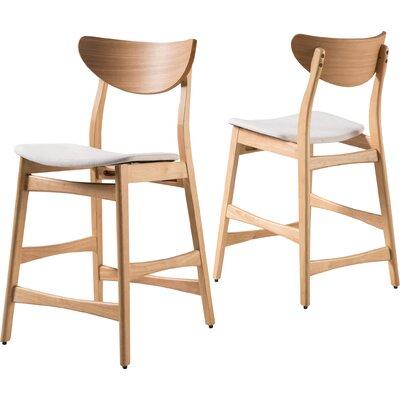 Laceyville 24 Bar Stool Upholstery: Light Beige, Frame Finish: Oak