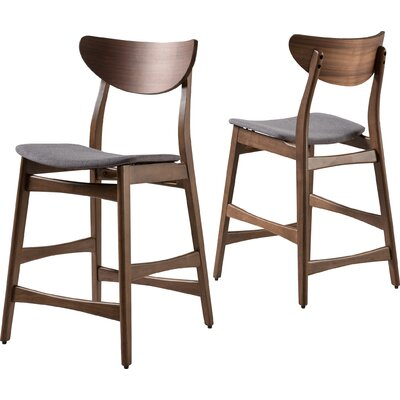 Laceyville 24 Bar Stool Upholstery: Dark Gray, Frame Finish: Walnut