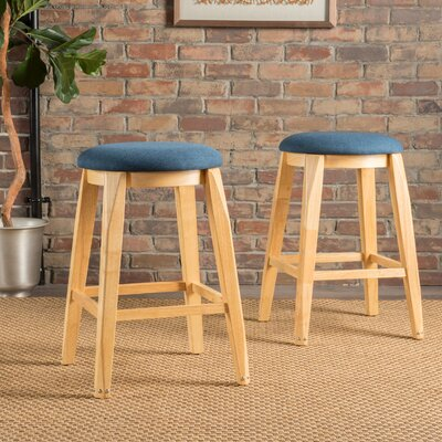 Cromwell 26 Bar Stool Upholstery: Navy Blue