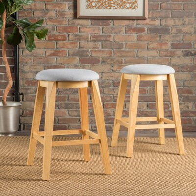 Baltwood 26 Bar Stool Upholstery: Light Gray