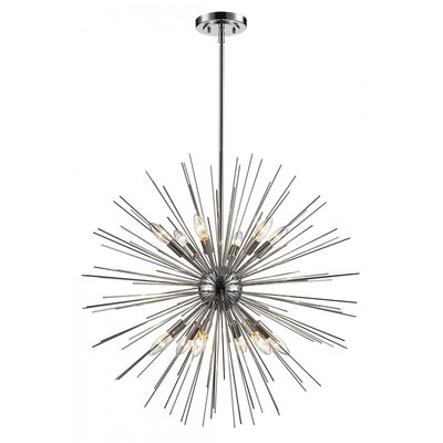 Antonie 9-Light Geometric Pendant Finish: Polished Chrome