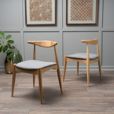 Drumawillin Side Chair Upholstery: Light Gray, Finish: Oak
