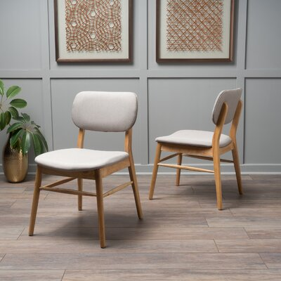 Drumadried Side Chair Upholstery: Beige Gray, Finish: Oak