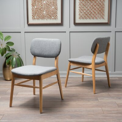 Drumadried Side Chair Upholstery: Gray, Finish: Oak