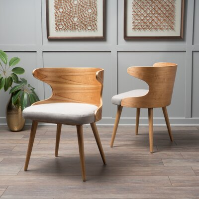 Allesandro Side Chair Upholstery : Beige Gray, Finish: Oak