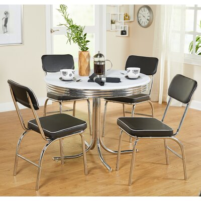 Temple Cloud 5 Piece Dining Set Upholstery: Black
