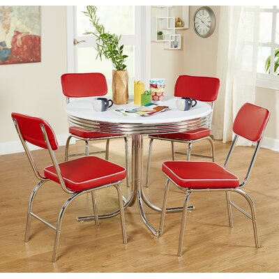 Temple Cloud 5 Piece Dining Set Upholstery: Red