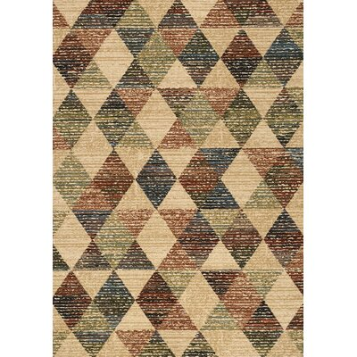 Wesley Rustic Triangles Beige Area Rug Rug Size: 53 x 77