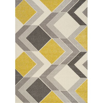 Wesley Cube Gray/Yellow Area Rug Rug Size: 710 x 1010