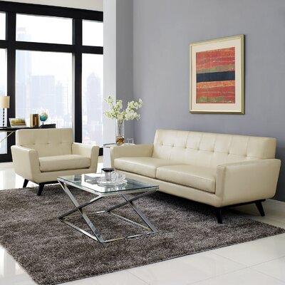 Saginaw Leather 2 Piece Living Room Set Upholstery: Beige