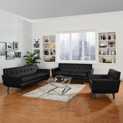 Saginaw Leather 3 Piece Living Room Set Upholstery: Black