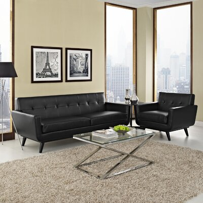 Saginaw Leather 2 Piece Living Room Set Upholstery: Black