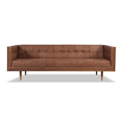 Carey Mid-century Modern Box Leather Sofa Upholstery: Brown