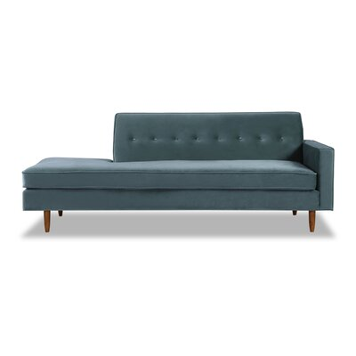 Mickey Mid-Century Chaise Lounge  Upholstery: Neptune Velvet, Leg Color: Brown