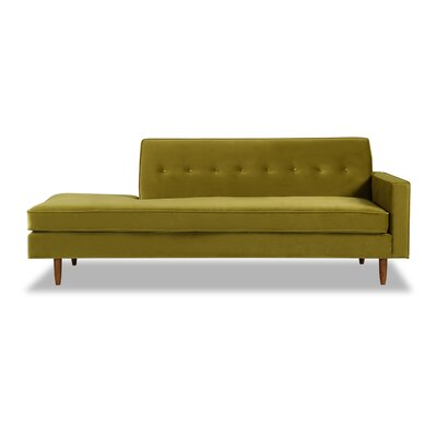 Mickey Mid-Century Chaise Lounge  Upholstery: Olive Velvet, Leg Color: Brown