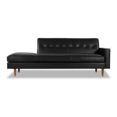 Mickey Mid-Century Chaise Lounge  Upholstery: Black Aniline Leather, Leg Color: Brown