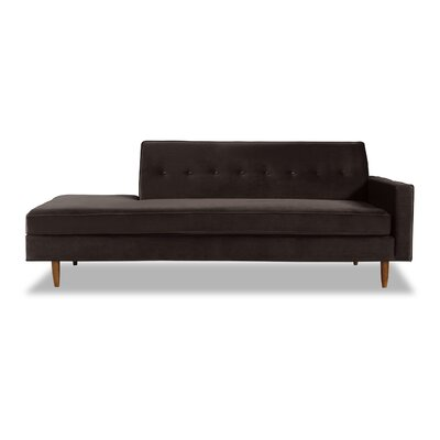 Mickey Mid-Century Chaise Lounge  Upholstery: Shadow Velvet, Leg Color: Brown